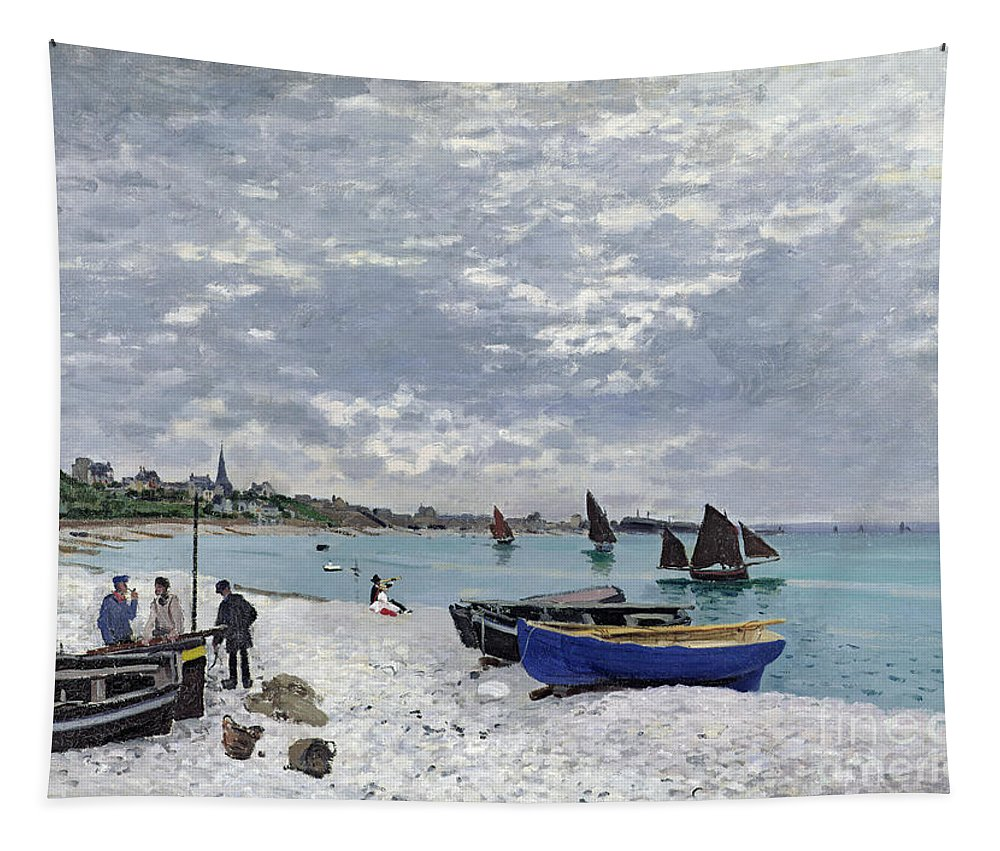Coastal;french;rowing Boat;sailing;sainte Adresse; Boats Tapestry featuring the painting The Beach At Sainte Adresse by Claude Monet