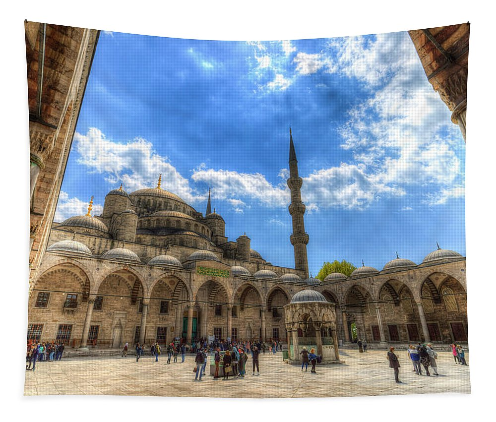 Blue Mosque Tapestry featuring the photograph The Blue Mosque Istanbul by David Pyatt