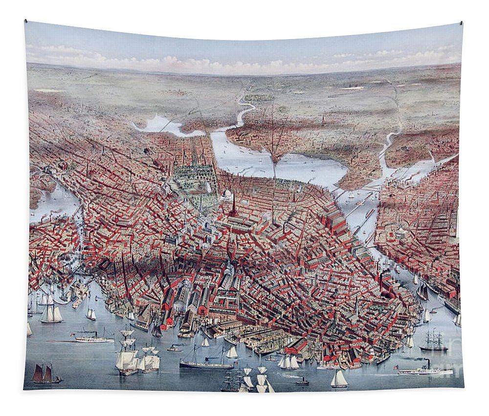 Boston Tapestry featuring the painting The City Of Boston by Charles Parsons