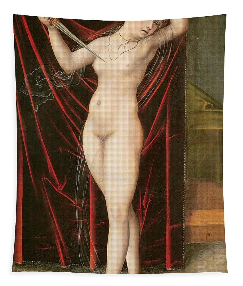 The Death Of Lucretia Tapestry featuring the painting The Death Of Lucretia by Lucas the elder Cranach