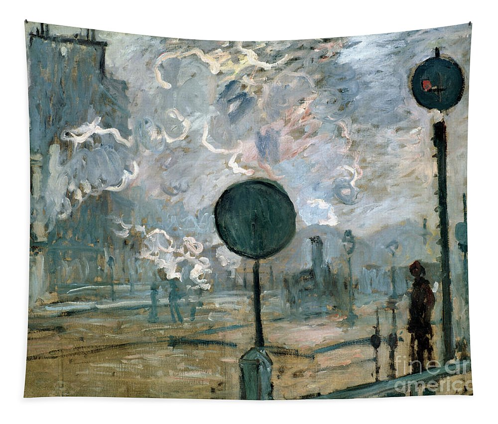 Monet Tapestry featuring the painting The Gare Saint-lazare by Claude Monet