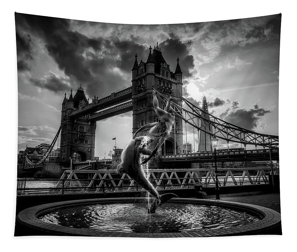 London Tapestry featuring the photograph The Girl And The Dolphin - London by Pixabay