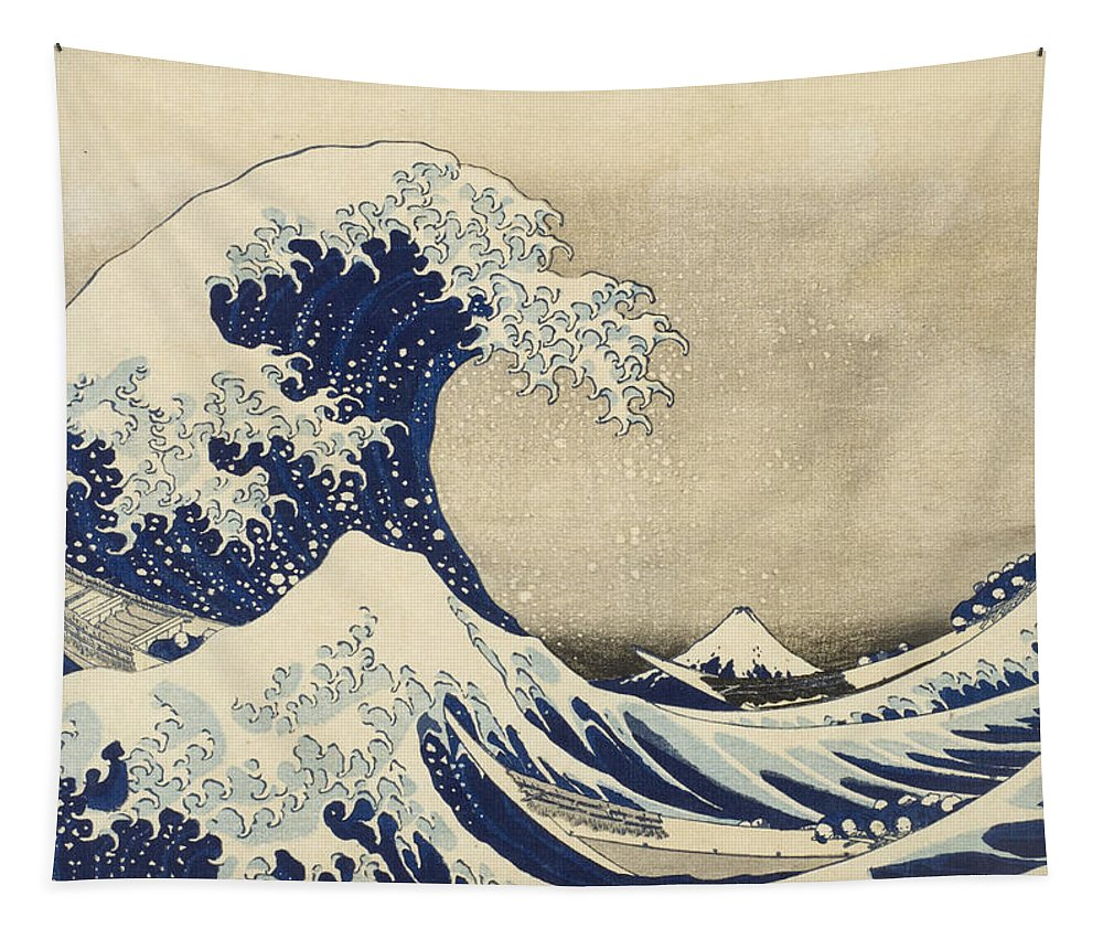 Hokusai Tapestry featuring the painting The Great Wave by Katsushika Hokusai