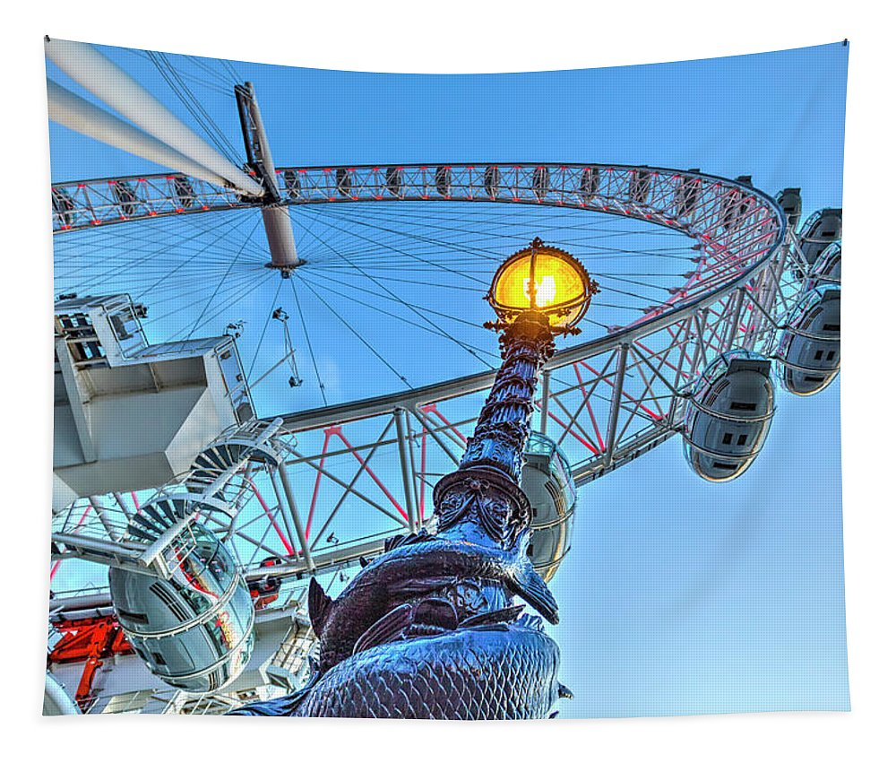 London Tapestry featuring the photograph The London Eye And Street Lamp by David Pyatt