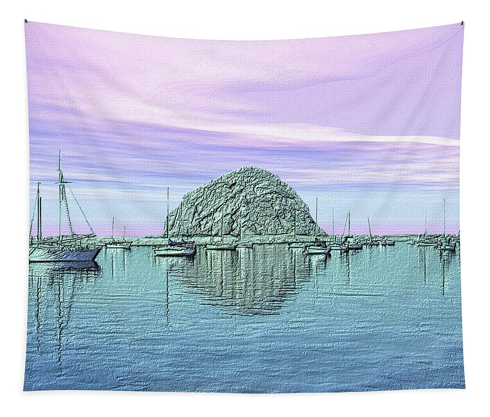 Morro Bay Tapestry featuring the photograph The Rock by Kurt Van Wagner