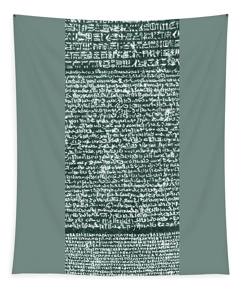 The Rosetta Stone Tapestry featuring the photograph The Rosetta Stone by Egyptian School