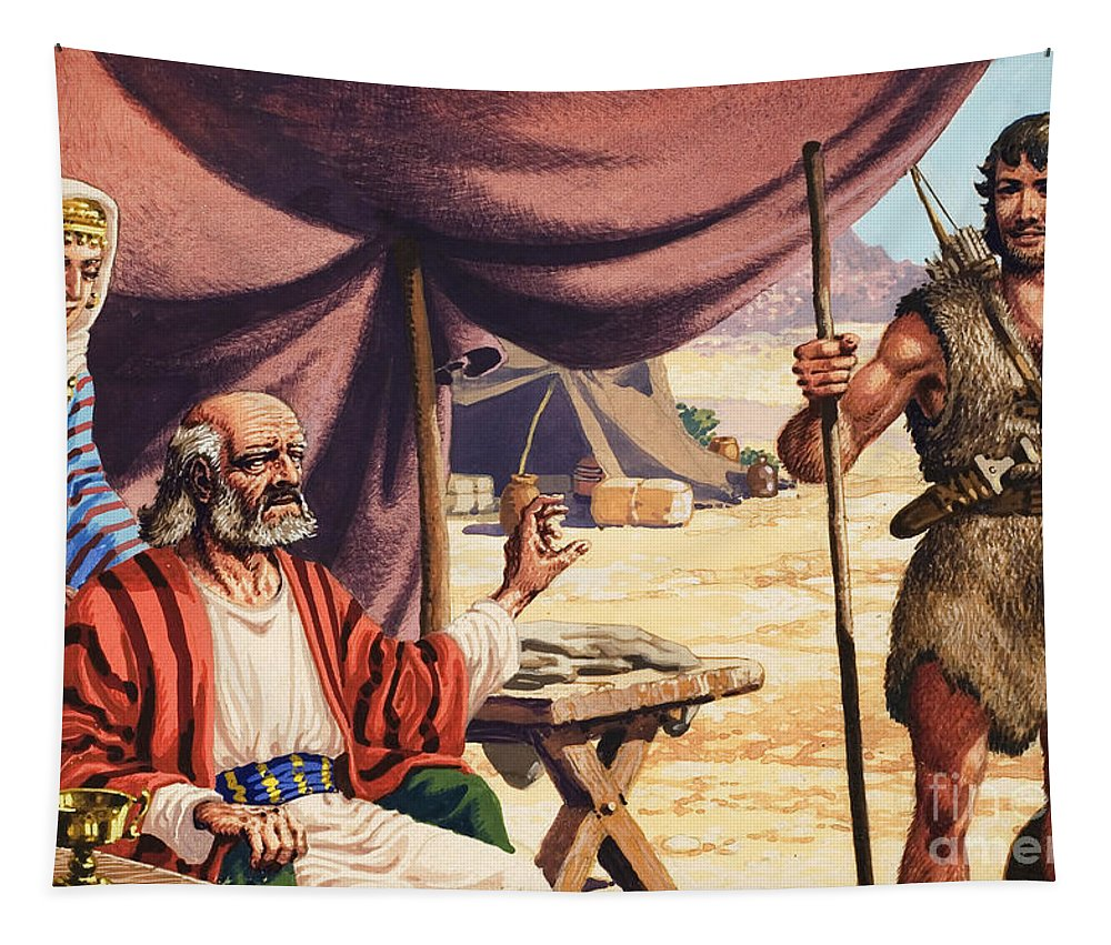 Genesis Tapestry featuring the painting   The Story Of Isaac by Pat Nicolle