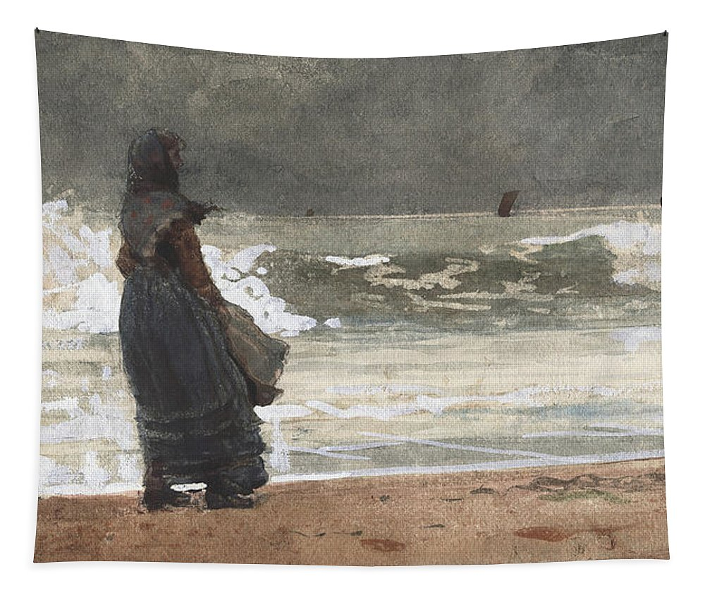 The Watcher Tapestry featuring the painting The Watcher, Tynemouth by Winslow Homer