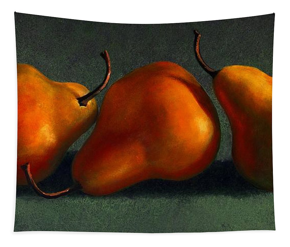 Still Life Tapestry featuring the painting Three Golden Pears by Frank Wilson
