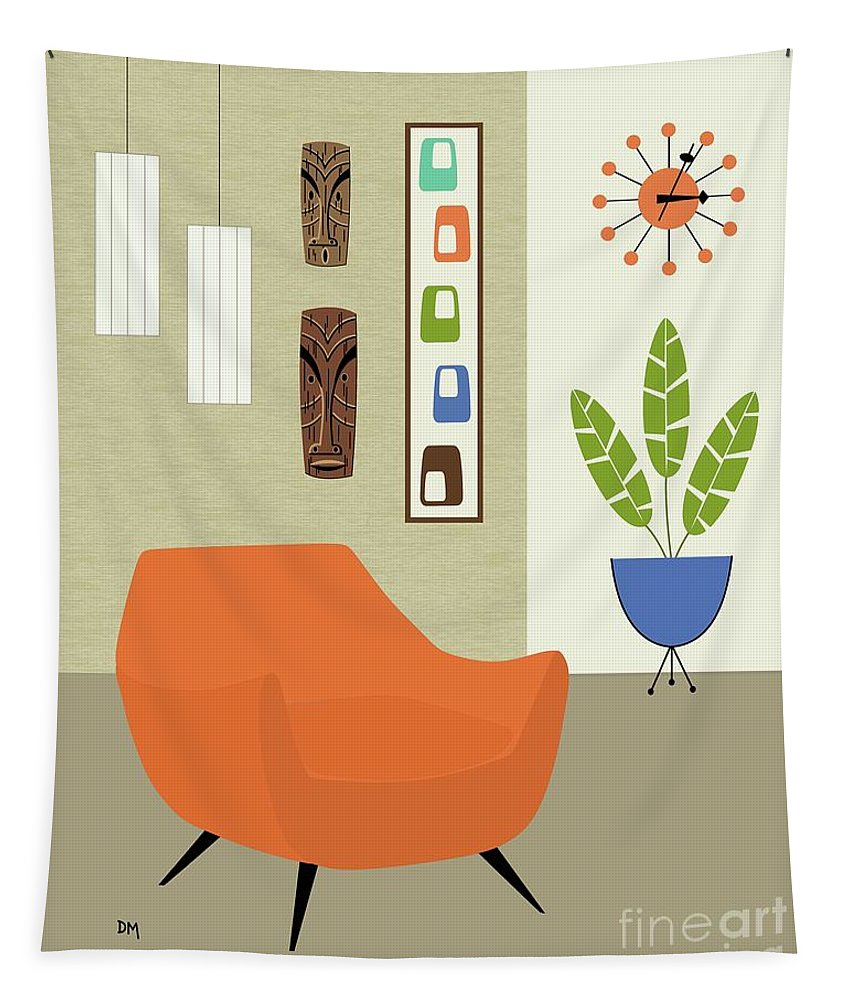 Tapestry featuring the digital art Tikis On The Wall by Donna Mibus
