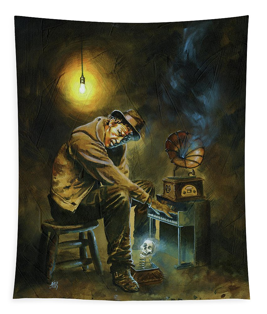 Tom Waits Tapestry featuring the painting Tom Waits by Ken Meyer jr