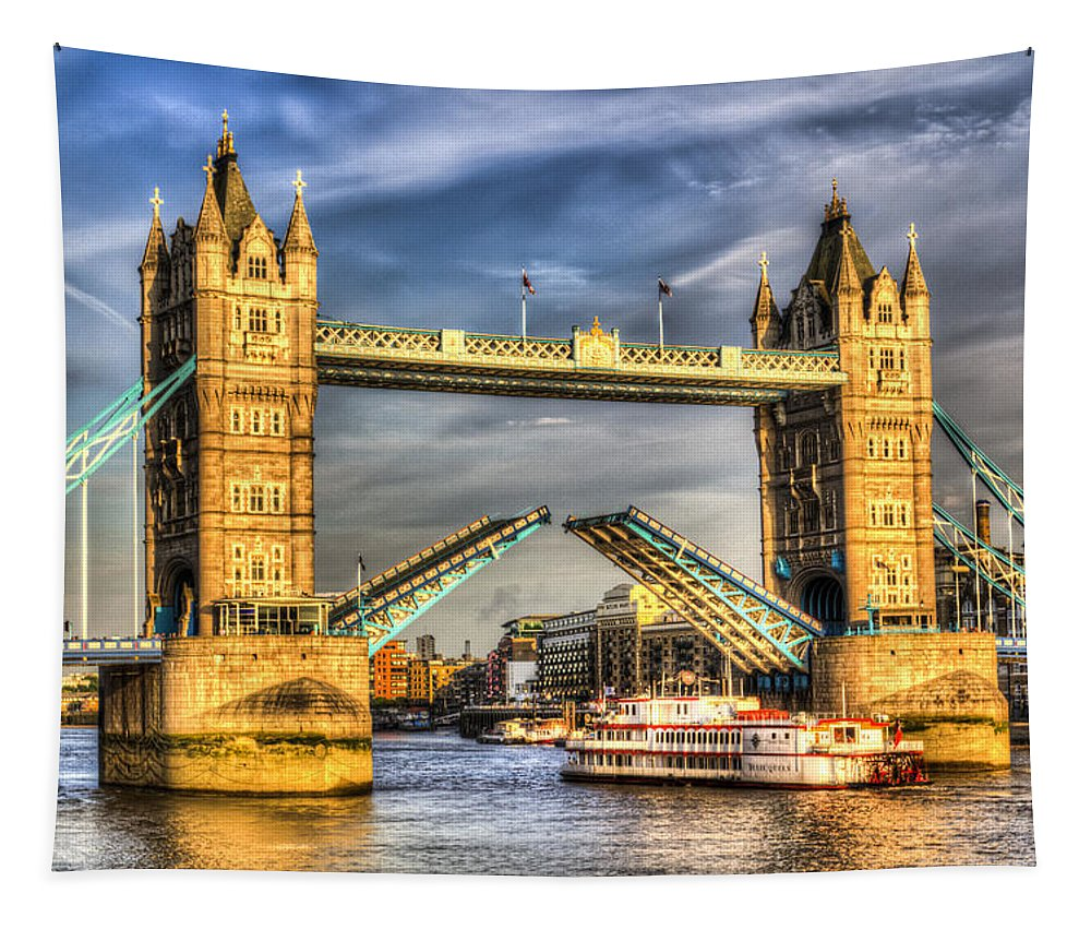 Tower Bridge Tapestry featuring the photograph Tower Bridge And The Dixie Queen by David Pyatt