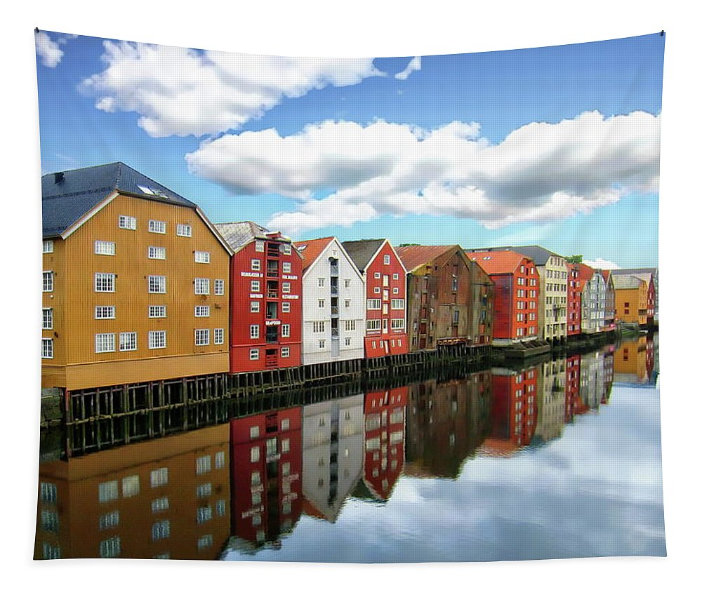 Architecture Tapestry featuring the photograph Trondheim Coastal View by Anthony Dezenzio