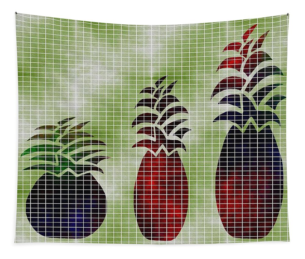 Contemporary Pineapple Art Tapestry featuring the mixed media Tropical Fruit by Kathleen Sartoris