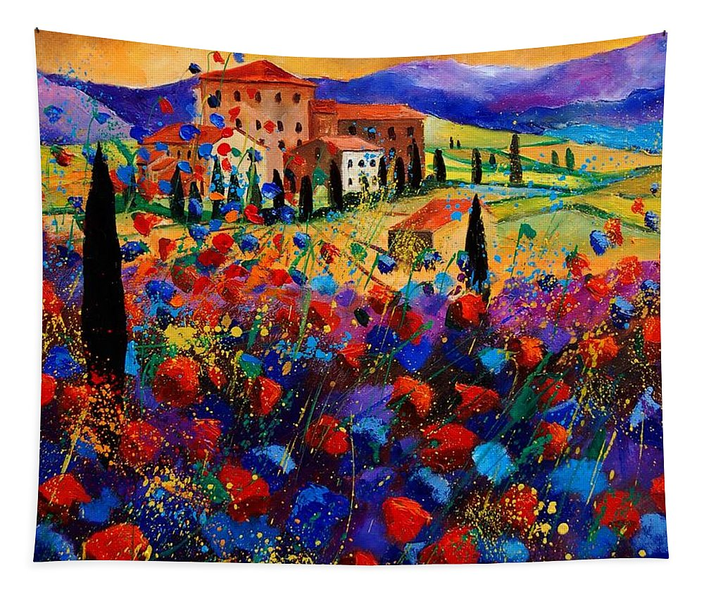 Flowers Tapestry featuring the painting Tuscany poppies by Pol Ledent
