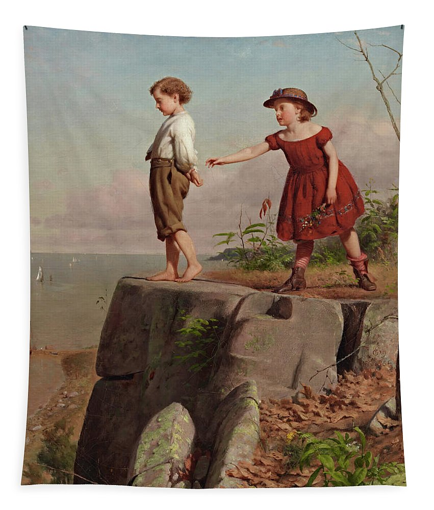 Painting Tapestry featuring the painting Unconscious Of Danger by Seymour Joseph Guy