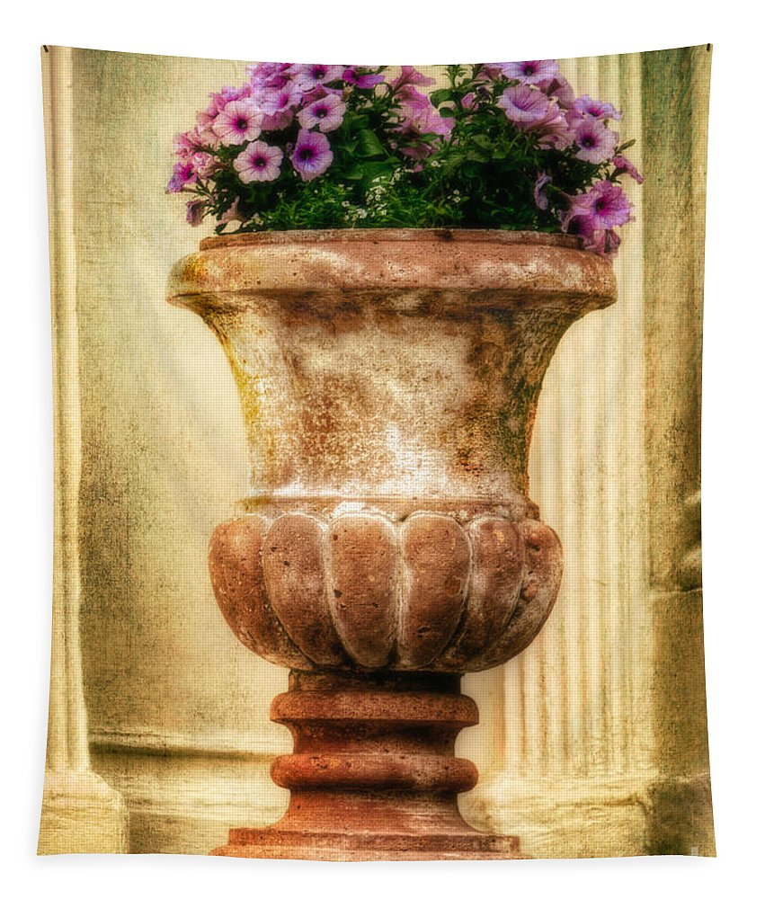 Antique Tapestry featuring the photograph Urn With Purple Flowers by Jerry Fornarotto