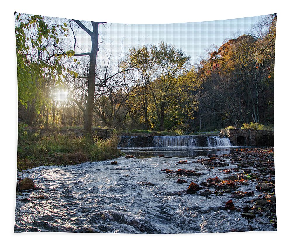 Valley Tapestry featuring the photograph Valley Creek Waterfall - Valley Forge Pa by Bill Cannon