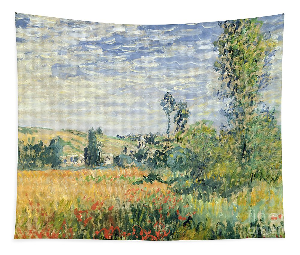 French Tapestry featuring the painting Vetheuil by Claude Monet