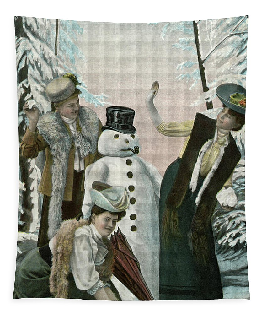 Victorian Tapestry featuring the painting Victorian Christmas Card by American School