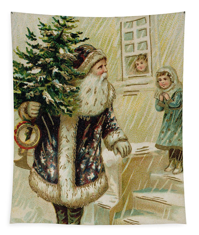 Father Christmas Tapestry featuring the painting Vintage Christmas Card by American School