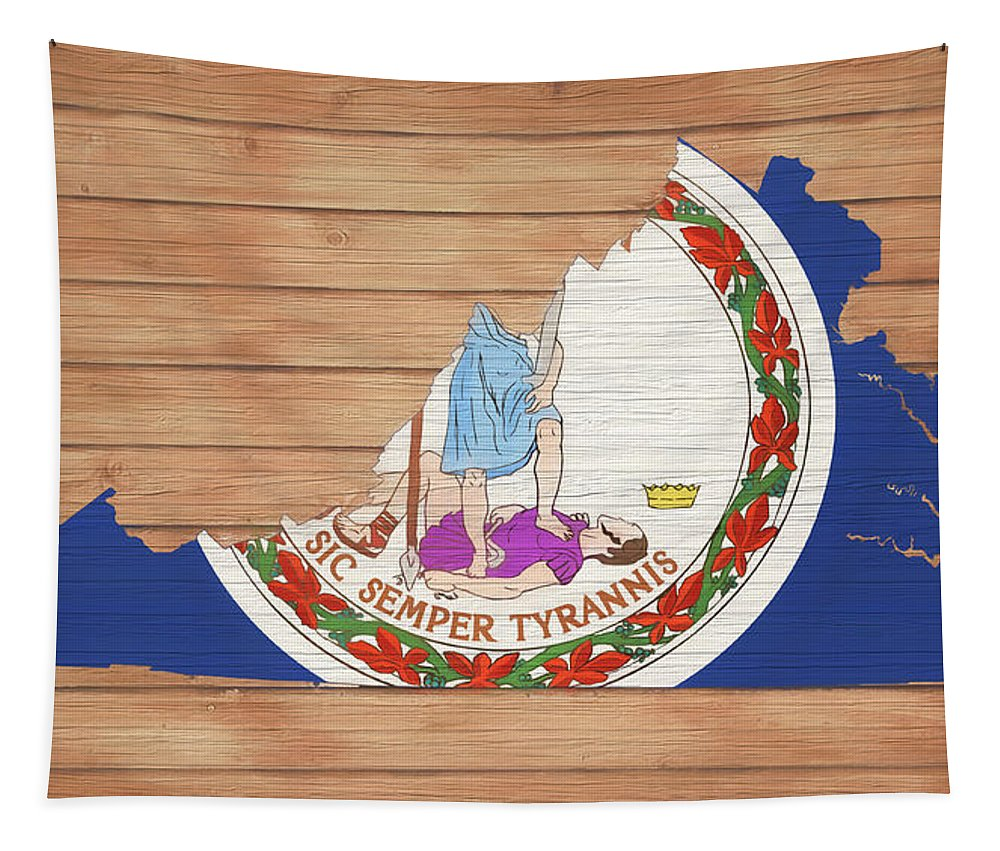 Virginia Rustic Map On Wood Tapestry featuring the mixed media Virginia Rustic Map On Wood by Dan Sproul