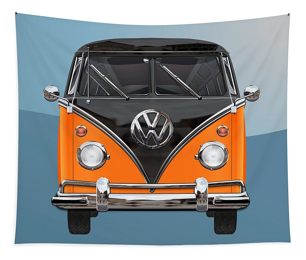 'volkswagen Type 2' Collection By Serge Averbukh Tapestry featuring the photograph Volkswagen Type 2 - Black and Orange Volkswagen T 1 Samba Bus over Blue by Serge Averbukh
