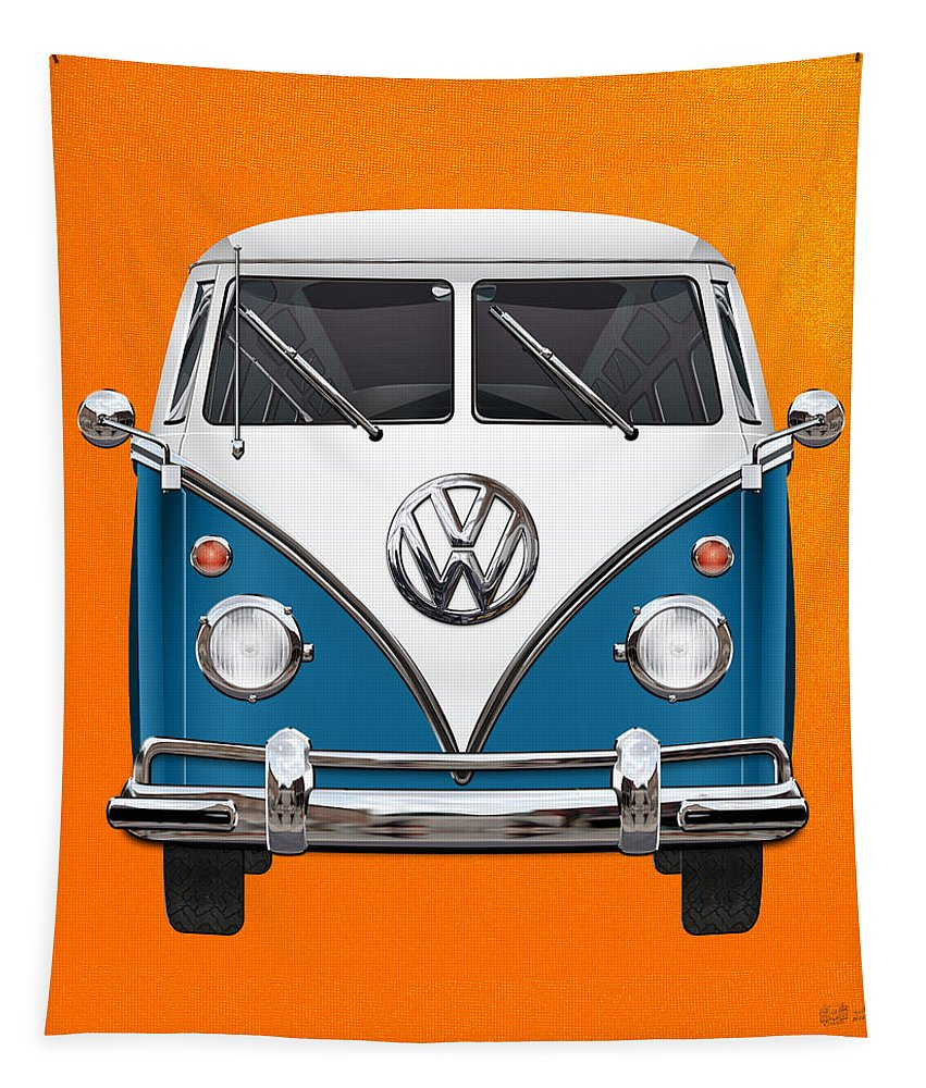 'volkswagen Type 2' Collection By Serge Averbukh Tapestry featuring the photograph Volkswagen Type 2 - Blue And White Volkswagen T 1 Samba Bus Over Orange Canvas by Serge Averbukh