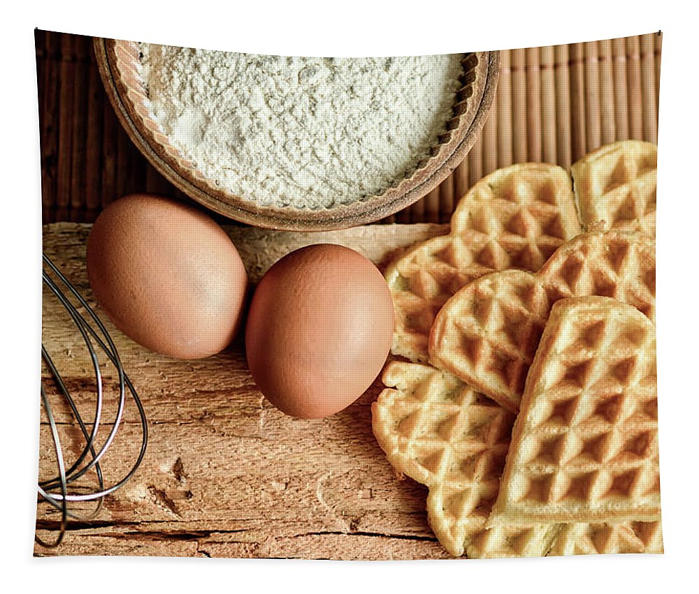 Portrait Tapestry featuring the photograph Waffles And Eggs by Congerdesign