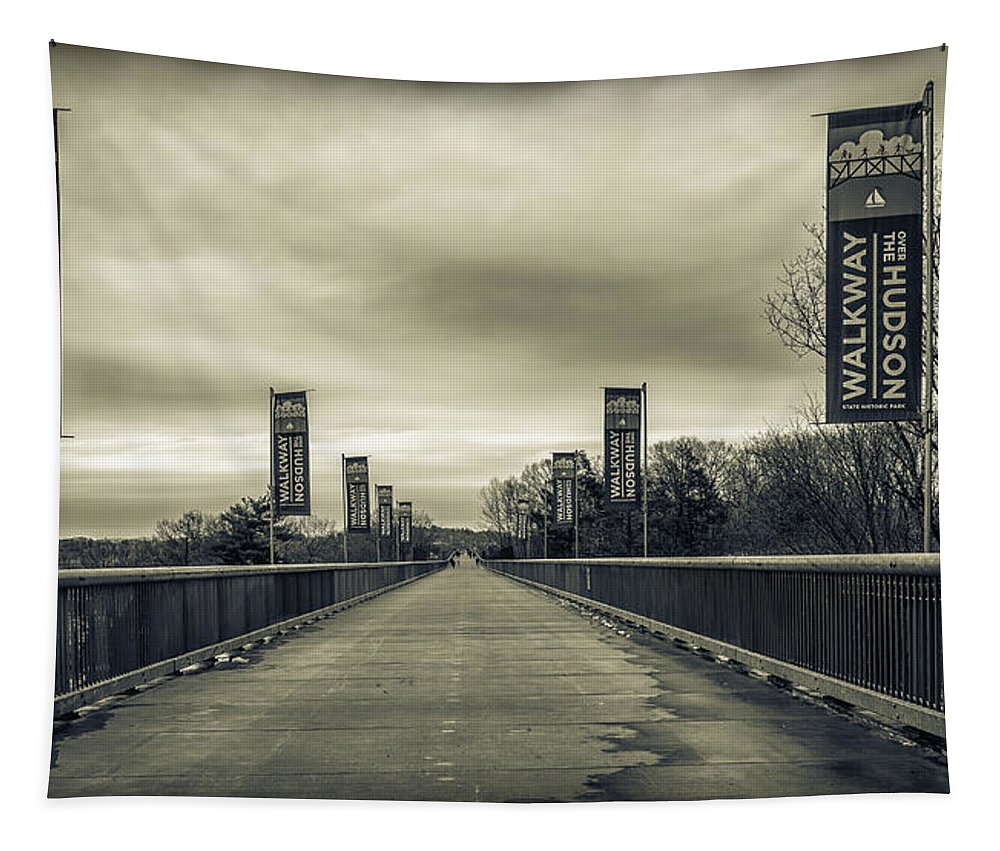 Walkway Over The Hudson River Tapestry featuring the photograph Walkway Over The Hudson by Eleanor Bortnick