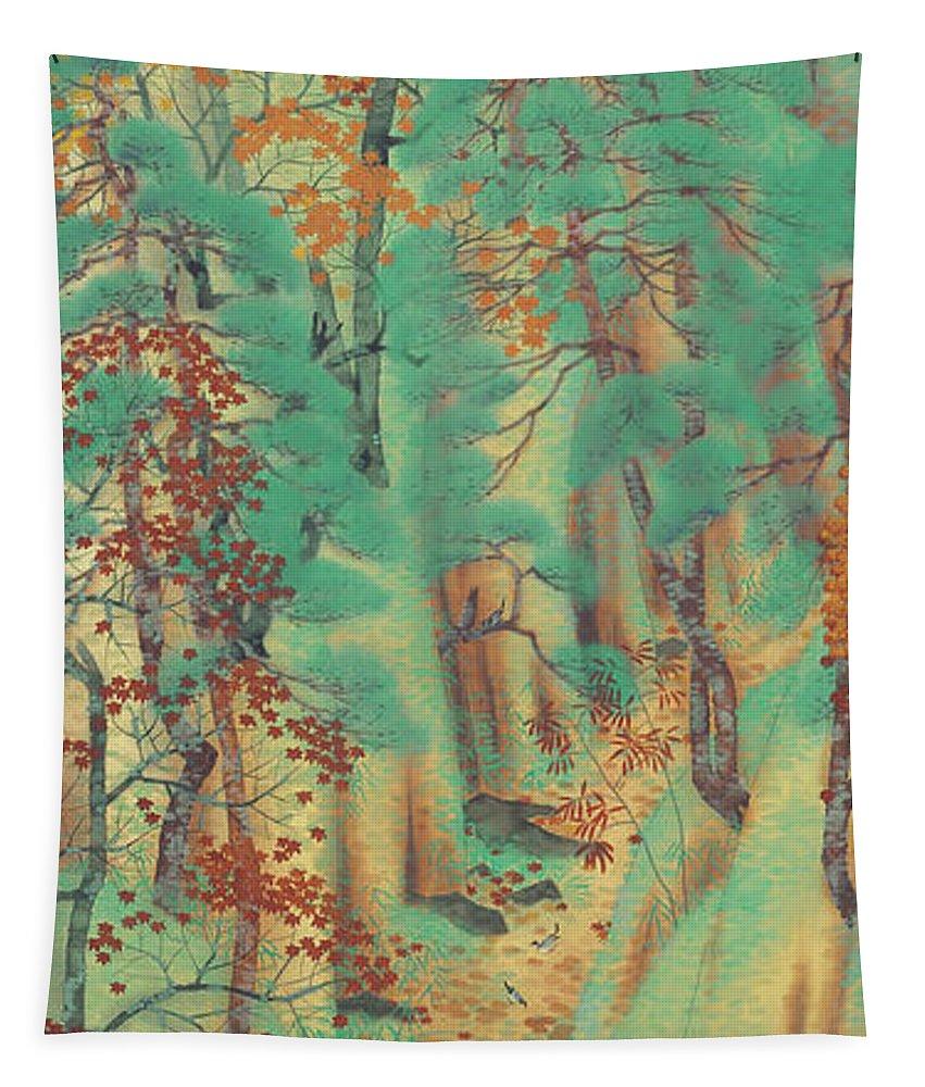 Painting Tapestry featuring the painting Way To Atago by Yokoyama Taikan