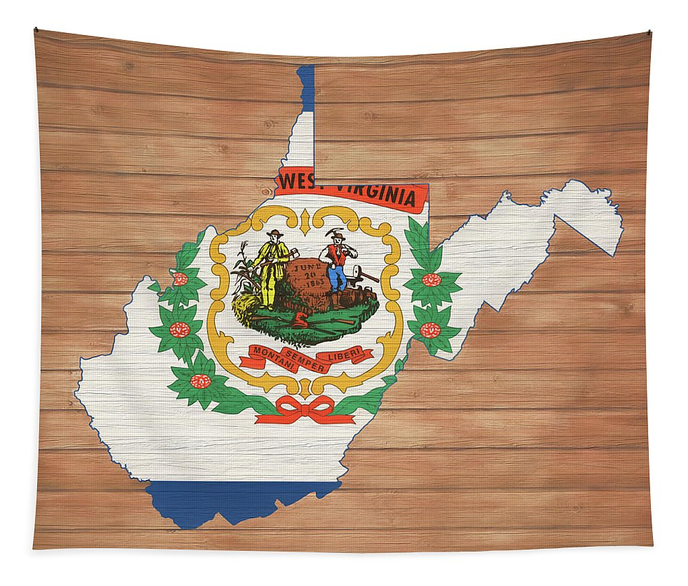 West Virginia Rustic Map On Wood Tapestry featuring the mixed media West Virginia Rustic Map On Wood by Dan Sproul