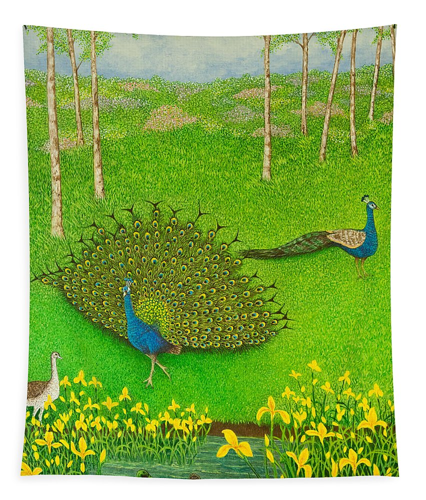 Peacock Tapestry featuring the painting Winning Ways by Pat Scott