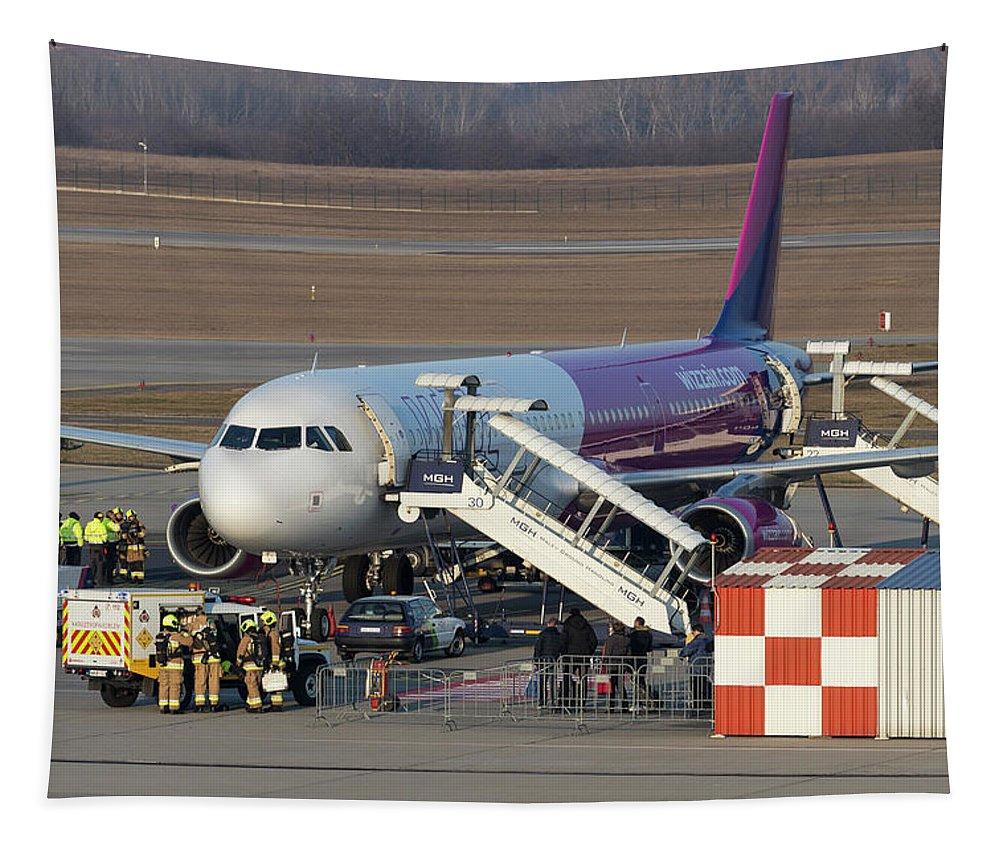 Katasztrófavédelem Tapestry featuring the photograph Wizz Air Jet And Fire Brigade  by David Pyatt