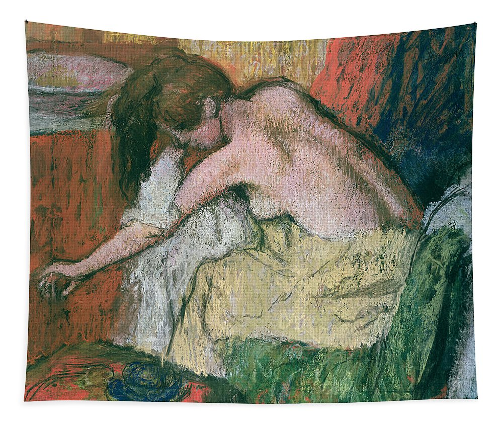 Woman Tapestry featuring the pastel Woman Drying Herself by Edgar Degas