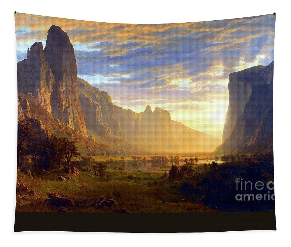 Albert Bierstadt Tapestry featuring the painting Yosemite Valley by Albert Bierstadt