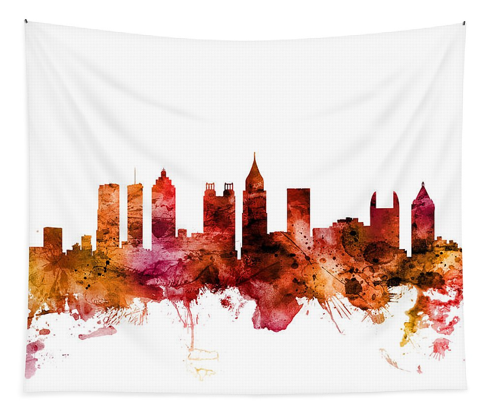 Atlanta Tapestry featuring the digital art Atlanta Georgia Skyline by Michael Tompsett