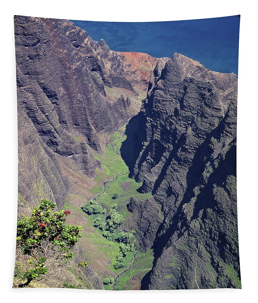 Awaawapuhi Valley Tapestry featuring the photograph 100173 Awaawapuhi Vally Na Pali Coast by Ed Cooper Photography