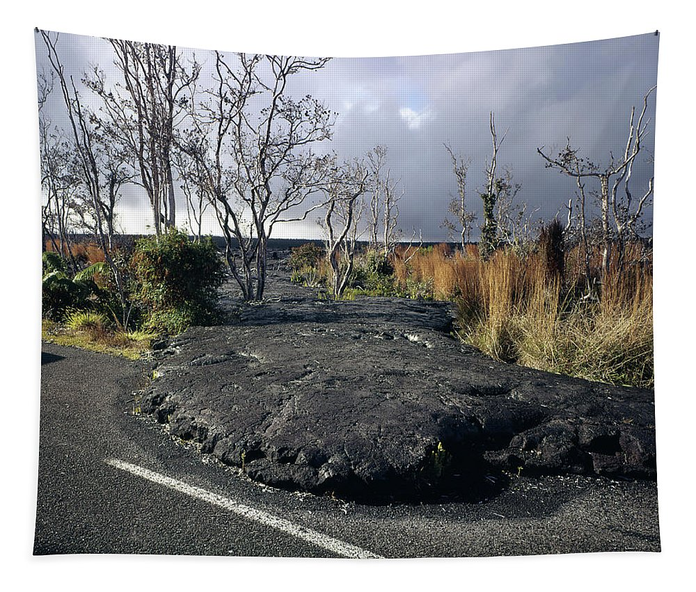 Volcano Tapestry featuring the photograph 100925 Lava Flow On Road Hi by Ed Cooper Photography