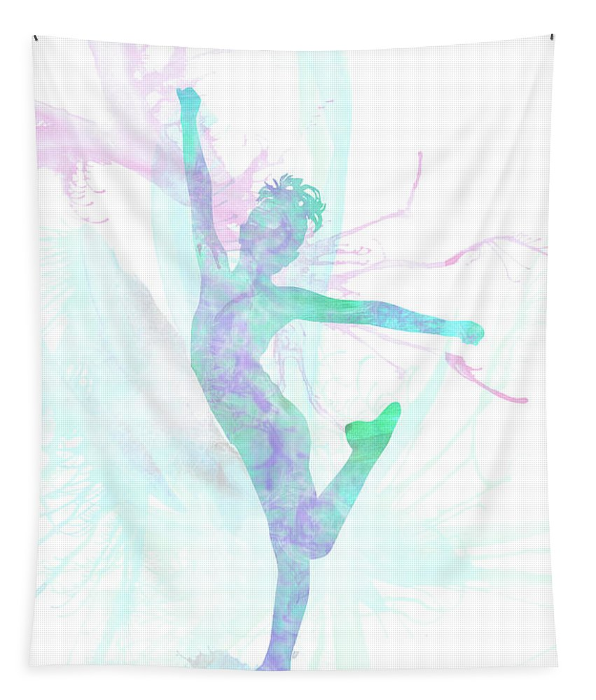 Child Tapestry featuring the mixed media 10835 The Gymnast by Pamela Williams