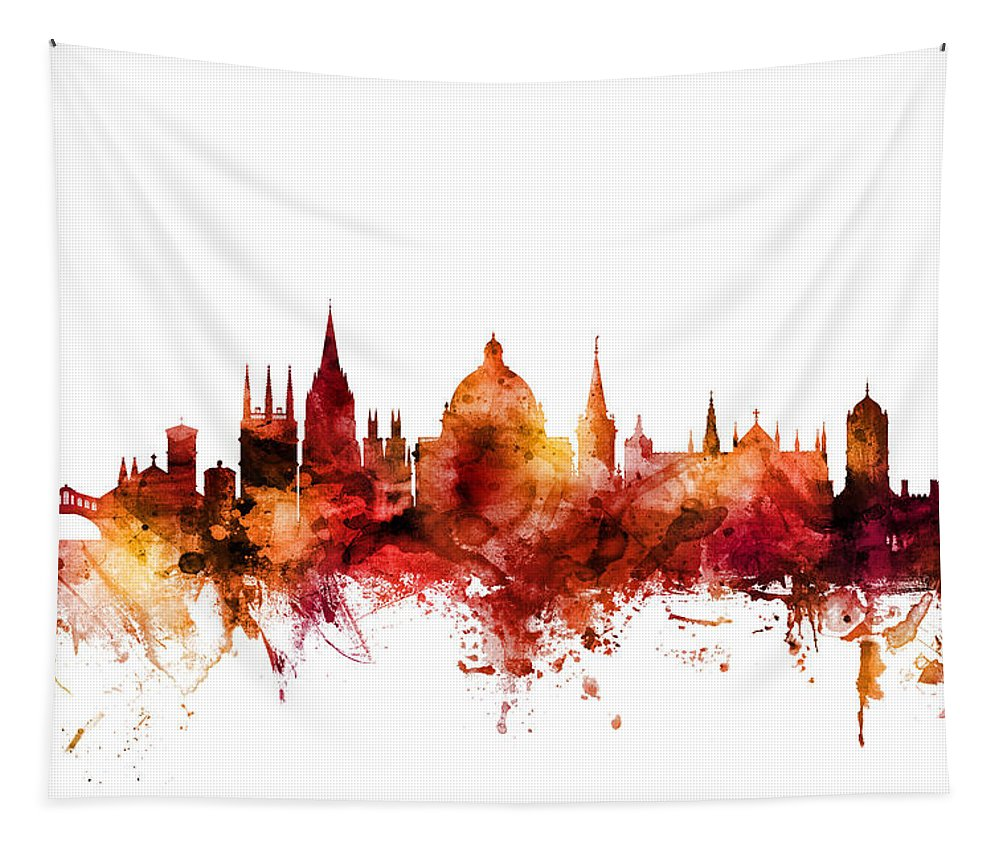 Oxford Tapestry featuring the digital art Oxford England Skyline by Michael Tompsett