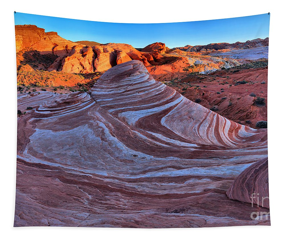Fire Wave Tapestry featuring the photograph Fire Wave Panorama by Adam Jewell