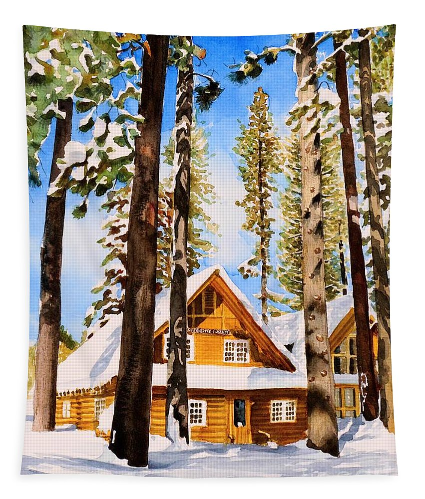 Lake Tahoe Tapestry featuring the painting #140 Gatekeepers Museum by William Lum