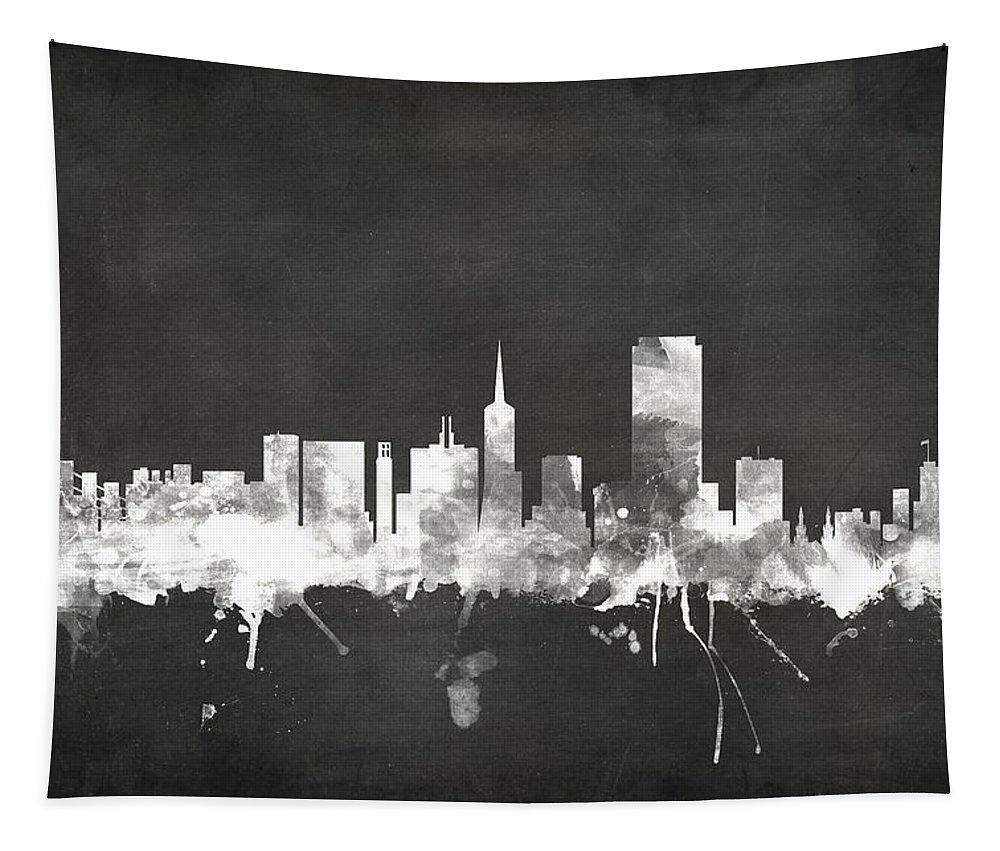 San Francisco Tapestry featuring the digital art San Francisco City Skyline by Michael Tompsett