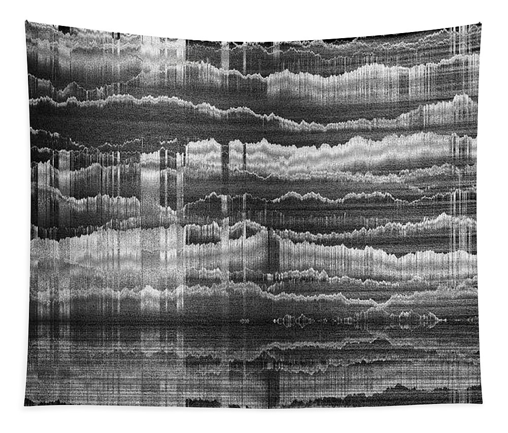 Rithmart Abstract Fade Fading Lines Organic Random Computer Digital Shapes Black Blue Cloudy Grey Lines Pale Pink Random Shapes Using White Tapestry featuring the digital art 16x9.111-#rithmart by Gareth Lewis
