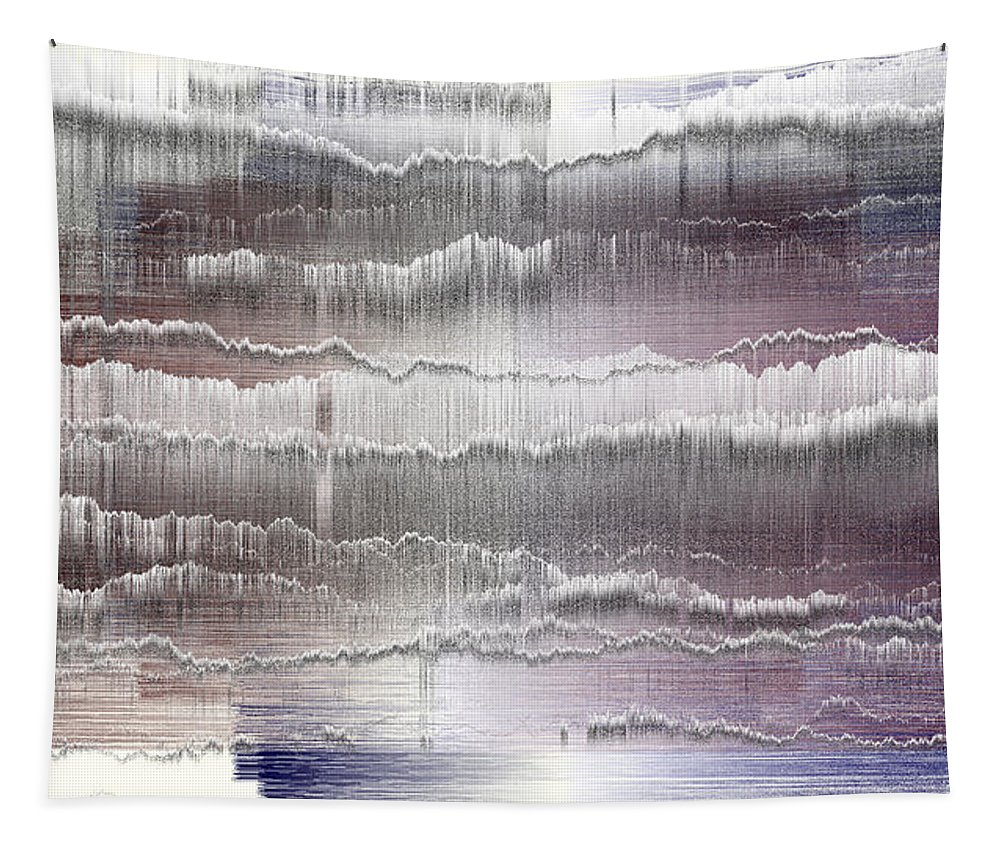 Rithmart Abstract Fade Fading Lines Organic Random Computer Digital Shapes Fading Layers Lines Reflected Tapestry featuring the digital art 16x9.149-#rithmart by Gareth Lewis
