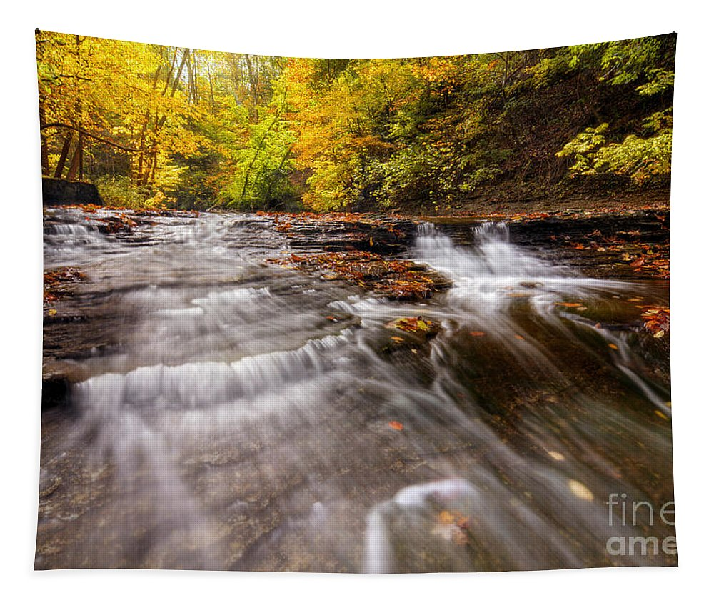 Hdr Tapestry featuring the photograph Autumn Waterfall by Michael Shake