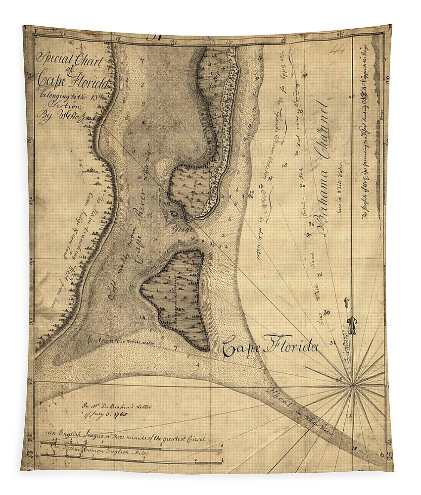 1765 Florida Coast Map Tapestry featuring the drawing 1765 Florida Coast Map by Dan Sproul