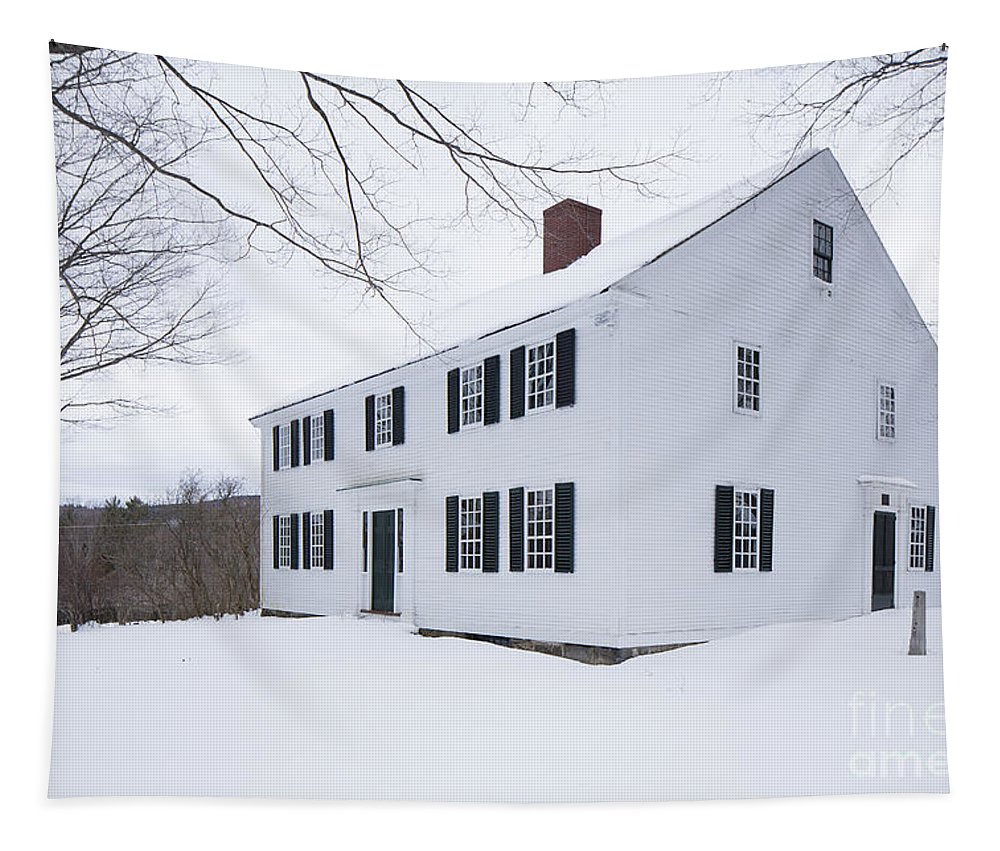 White Tapestry featuring the photograph 1800 White Colonial Home by Edward Fielding