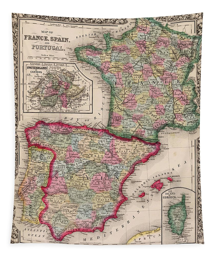 France Tapestry featuring the digital art 1800s France, Spain And Portugal County Map Color by Toby McGuire